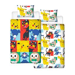 Conjunto Reversível Capa de Edredon e Fronha de Almofada Pokémon Newbies