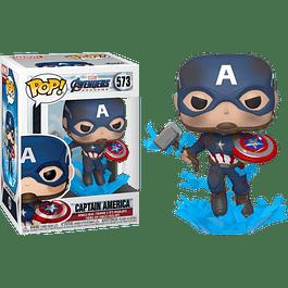 POP! Marvel Avengers Endgame: Captain America (with Broken Shield and Mjolnir)