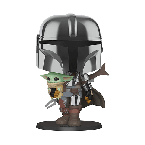 POP! Star Wars: The Mandalorian - The Mandalorian holding The Child (Super Sized)