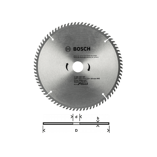 Disco Bosch 10″ 80 Dientes Eco For Wood