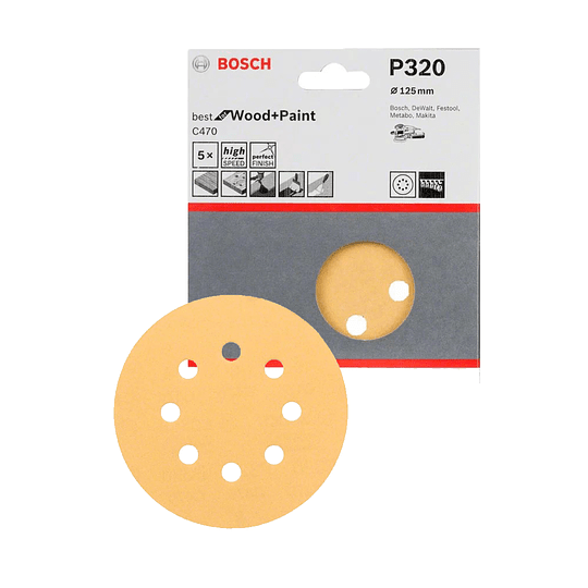 Disco de Lija C470 125mm G320 5u 8P madera y pintura. (Best for Wood and Paint)