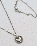 Cadena Corazón plata envejecida