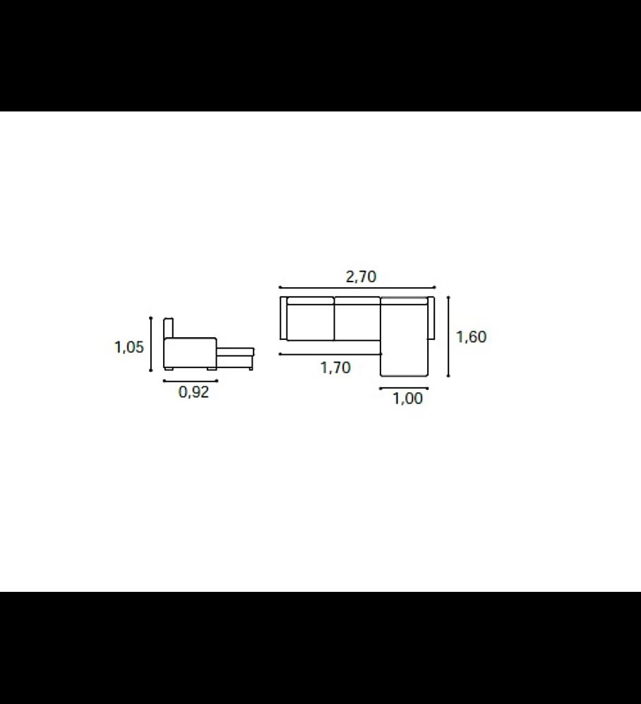 Sofá Chaise Derly 3 Lugares Com 2 Mecanismos