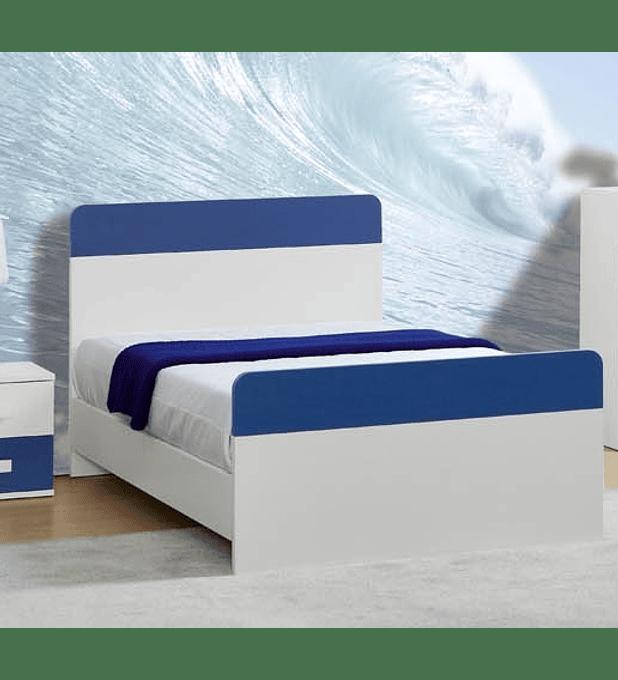 Cama Simples Play Branco Azul