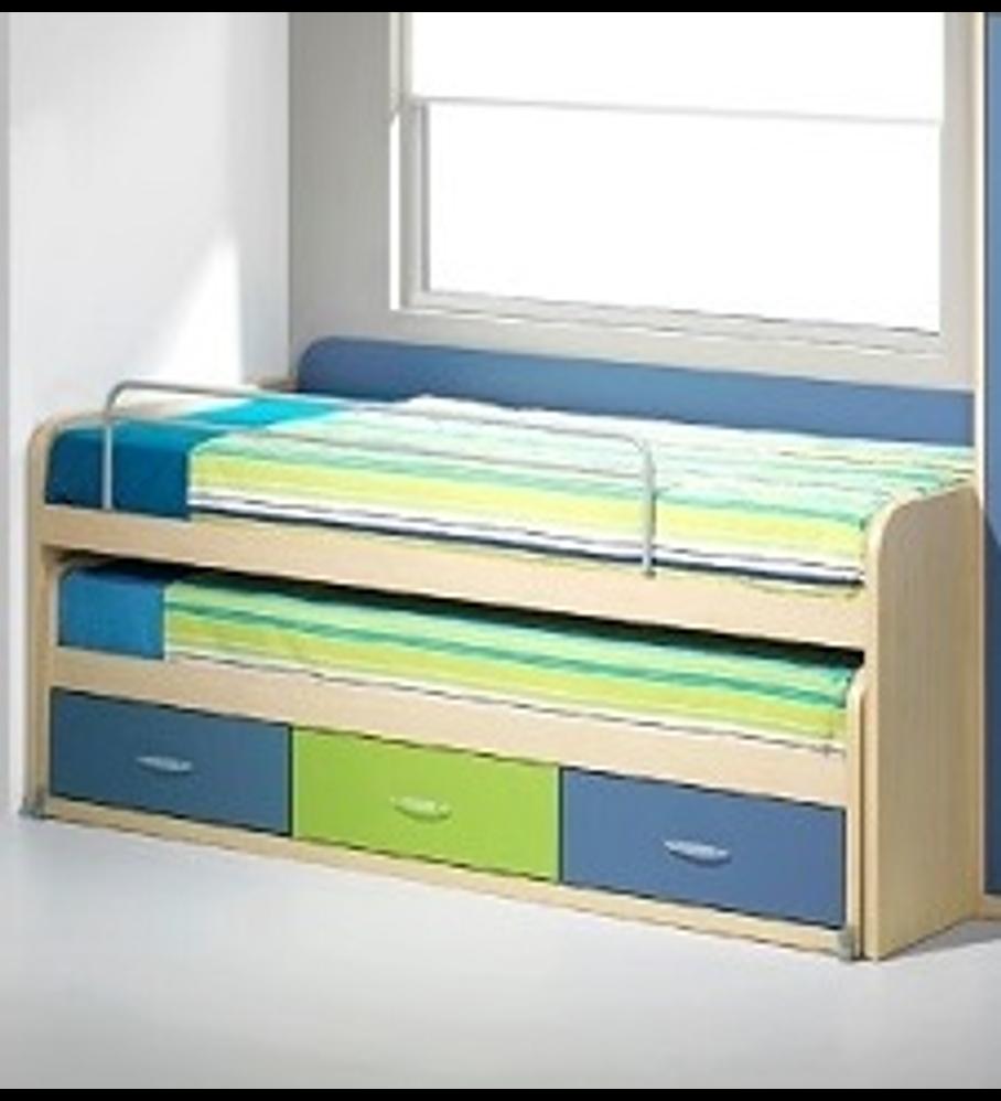 Cama Compacta  Kids Maple Azul Verde