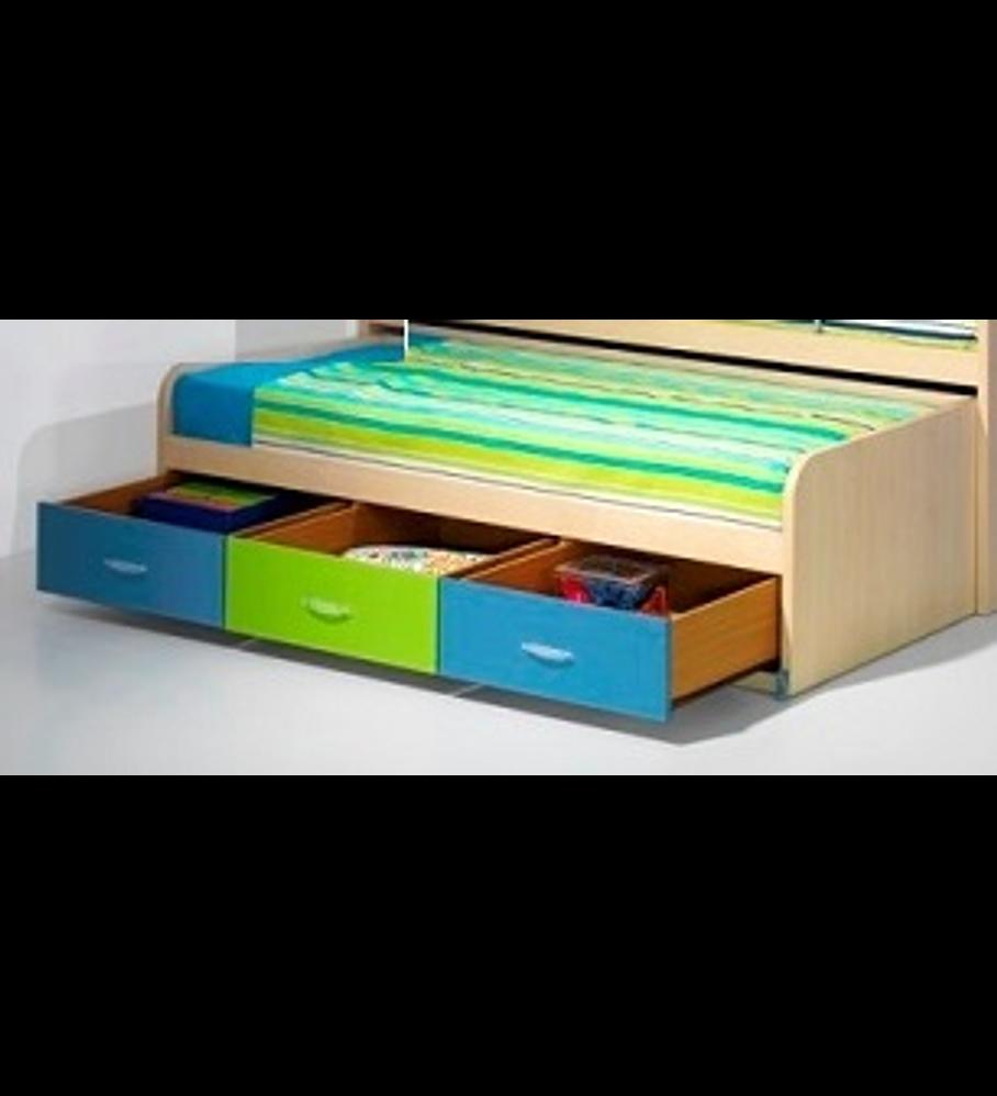 Cama Inferior Compacta Kids Maple Azul Verde