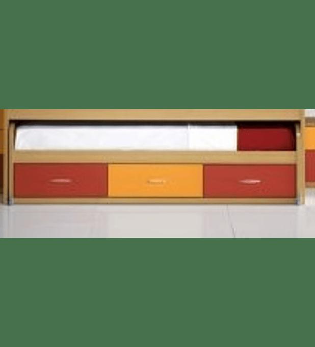 Cama Inferior Compacta Kids Faia Vermelho Laranja