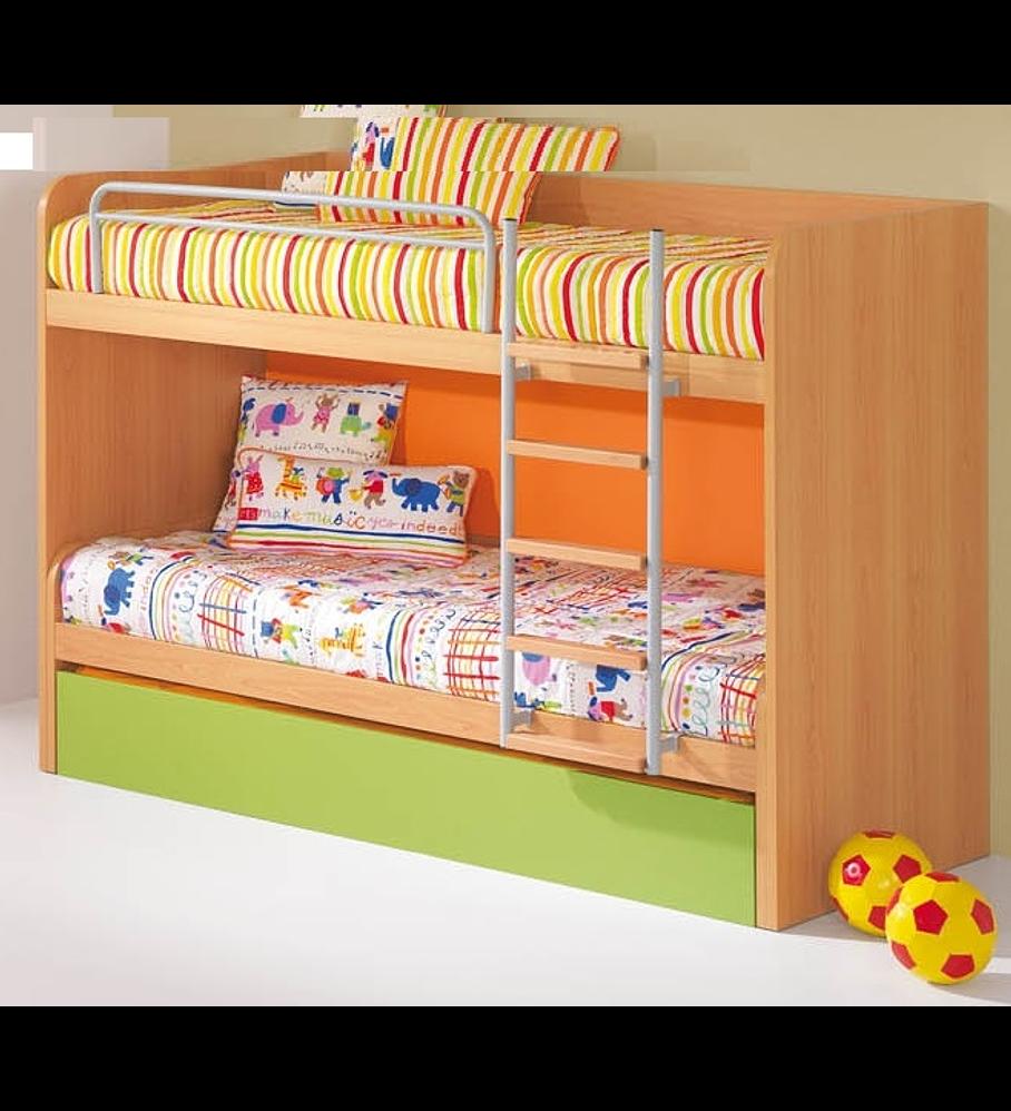 Parte Duplo de Beliche Triplo (2 camas) Kids Faia Verde Laranja