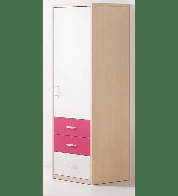 Roupeiro 1 Porta Play Branco Rosa