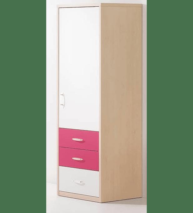 Roupeiro 1 Porta Kids Maple Rosa Branco