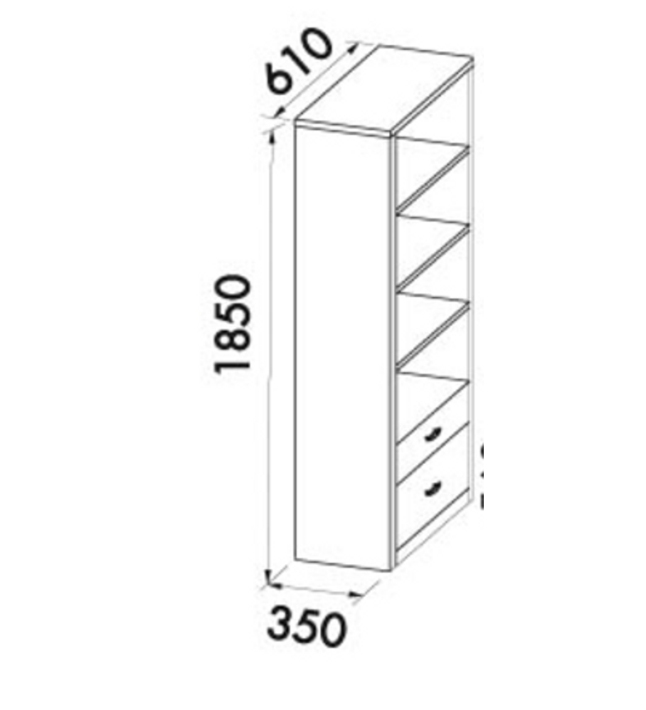 Estante com 2 Gavetas Maple / Azul Verde