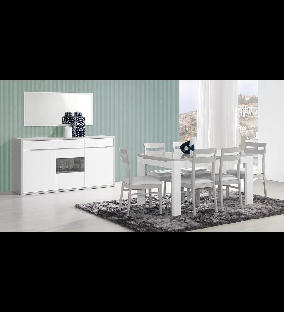Sala de Jantar Completa Viena Cinza Branco
