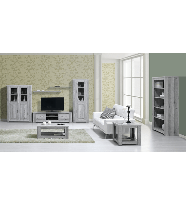 Sala de Estar Completa Florença Cinza Rústico