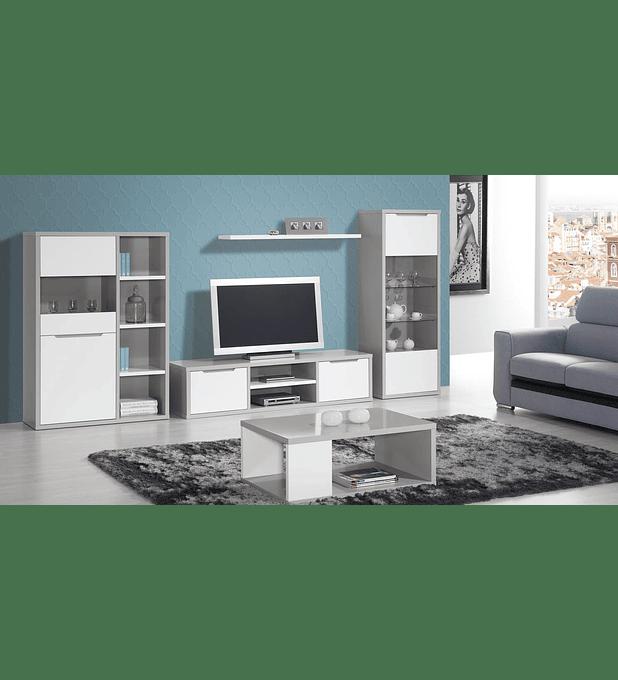 Sala de Estar Completa Viena Cinza Branco