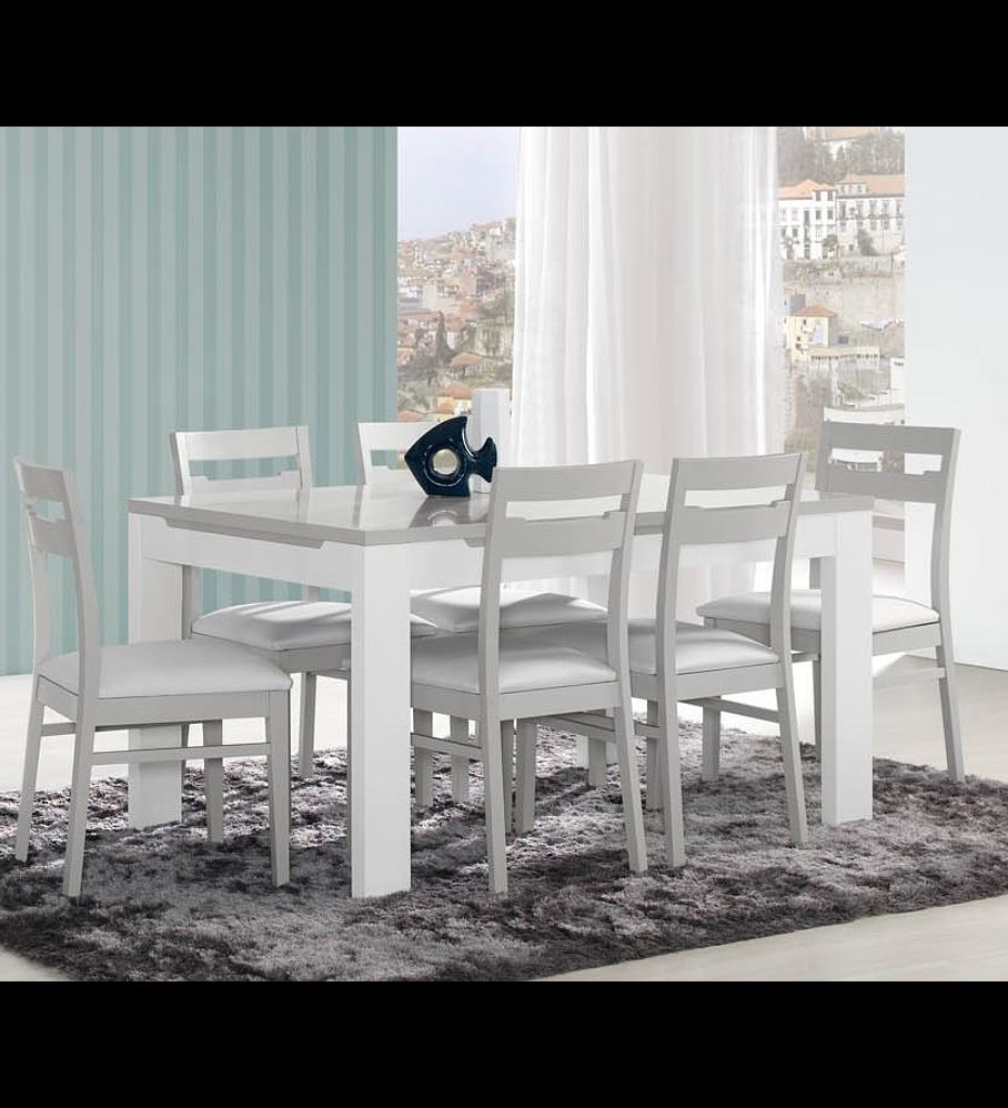 Mesa Sala Viena Cinza Branco