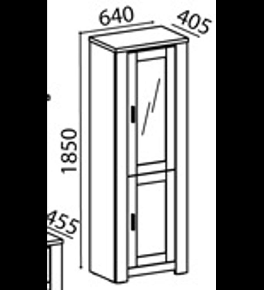 Cristaleira Florença Cinza Rústico 1 Porta