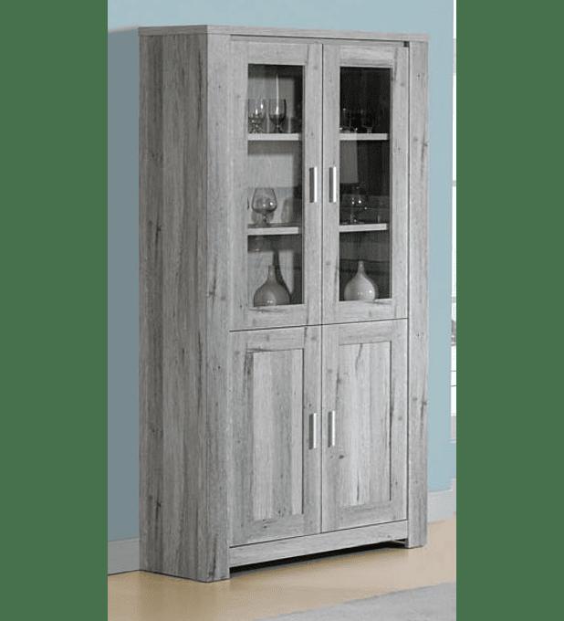 Cristaleira Florença Cinza Rústico 2 Portas