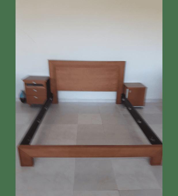 Quarto Casal Cama + 2 Mesas Cabeceira + Cómoda Faia Luna