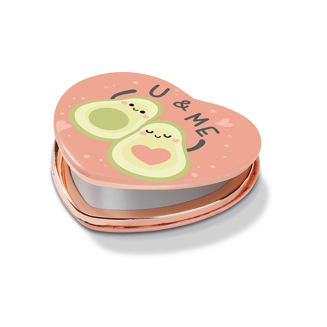Espejo de bolsillo con forma de corazón, aguacate