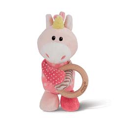 Unicorn Stupsi Plush with Wood Ring
