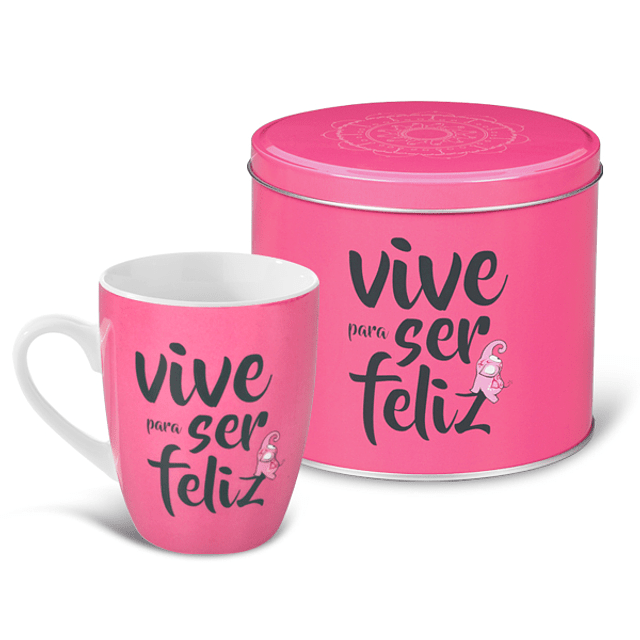 "Taza y lata ""Viva para ser feliz"""