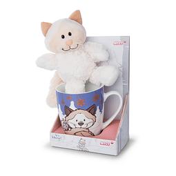 Mug + Plush Snow Cat