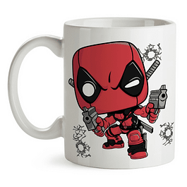 Mug Deadpool With Guns Tipo Pop