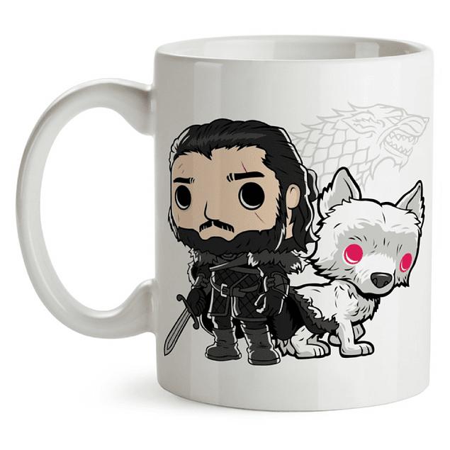 Mug Jon Snow Y Ghost Game Of Thrones Tipo Pop