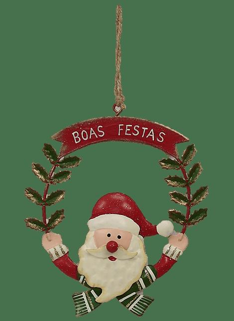 """PENDENTE COROA PAI NATAL """"BOAS FESTAS"""""""