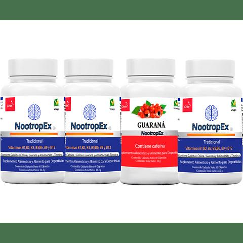 NootropEx Tradicional  por 3 + Guaraná 60 cápsulas