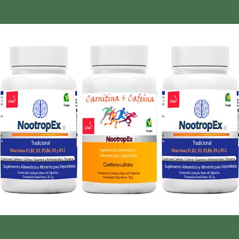 Pack 2 NootropEx + 1 CARNITINA+CAFEÍNA + ENVÍO GRATIS INCLUIDO IV a VIII Región