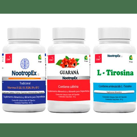 NootropEx + Guaraná 350 + L-Tirosina  + ENVÍO GRATIS INCLUIDO IV a VIII Región