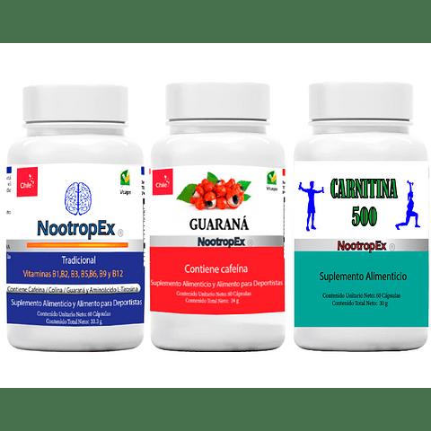 NootropEx + Guaraná 350 + Carnitina 500