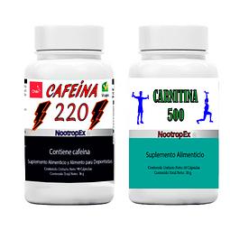 Pack CAFEÍNA 220 + CARNITINA 500 + ENVÍO NO INCLUIDO
