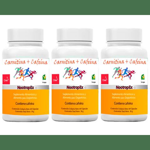 Pack x 3 Carnitina / Cafeína NootropEx / + ENVÍO GRATIS INCLUIDO IV a VIII Región