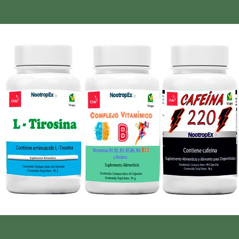CAFEÍNA 220 + Complejo Vitamínico B + L-Tirosina  + ENVÍO GRATIS INCLUIDO IV a VIII Región