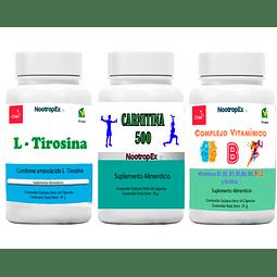 Carnitina 500 + Complejo Vitaminico B + L-Tirosina