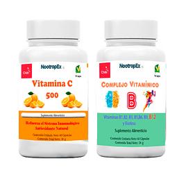 Complejo Vitamínico B  +  Vitamina C  (Cápsulas Vegetales) (Envío No Incluido)