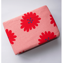 Funda Plumón Tejido Punto 1,5plaza flores rosada