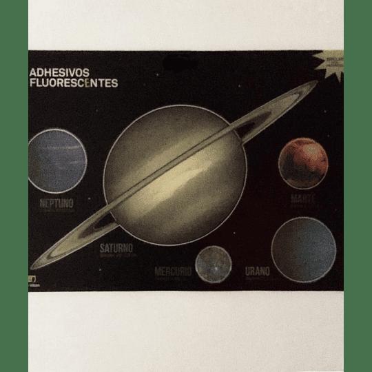 Adhesivos Fluoroscentes XL planetas