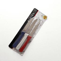 Set 3 cuchillos tricolor