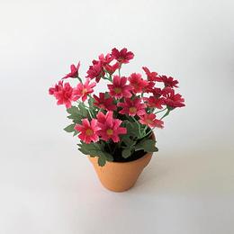 maceta flores artificiales