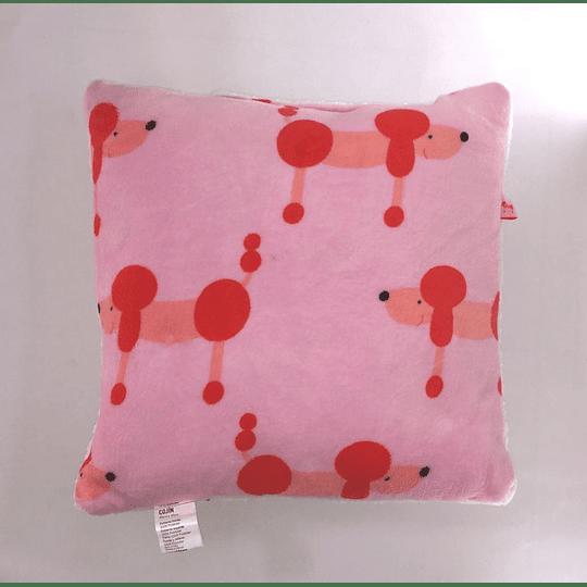 cojin estampado rosado 46x45