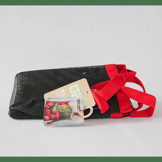 bolsa de compras malla negra y rojo reutilizable
