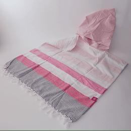 Poncho Algodón Blanc/rosa