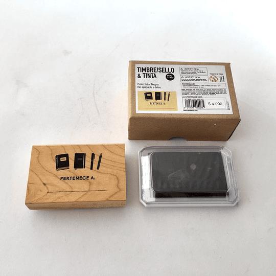 Set Timbre y Tinta - Pertenece A, tinta negra