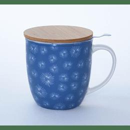 Mug con Infusor 400ml Tapa Bambú nordic blue