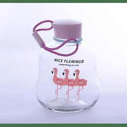 botella de vidrio 3 flamencos
