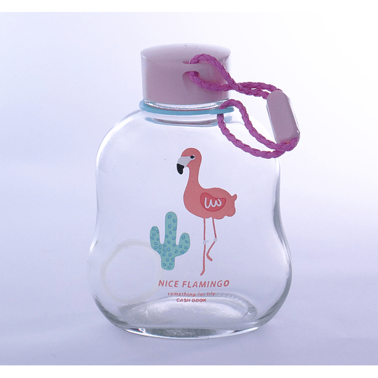 botella de vidrio flamenco cactus