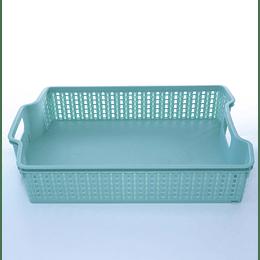 Canasto Organizador Trenza Verde Agua 27,5x19,5x6,5